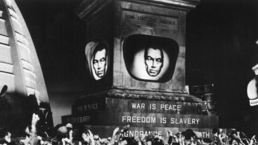 """The biggest literary shock of recent years..."" A scene from a 1956 film production of George Orwell's novel 1984."