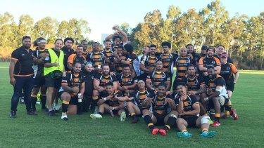 Penrith Emus celebrate after beating Parramatta.