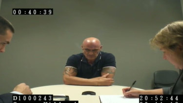 Vinzent Tarantino speaks to police in November 2016, on the day he was found with the knife.