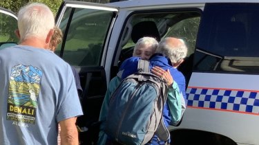 Madeleine Nowak, 73, is reunited with her husband after spending three nights missing on Fraser Island.