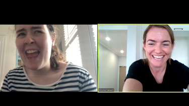 Kate Pringle (left) during an online therapy session with Autism Queensland therapist Rhonda Newell.