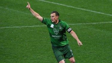 Level pegging: Bentleigh Greens captain Jack Webster celebrates scoring the equaliser against Avondale FC.