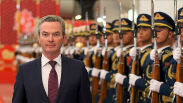 Defence minister Christopher Pyne in China.