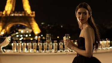 Actor Lily Collins as Emily in the new Netflix show Emily In Paris.