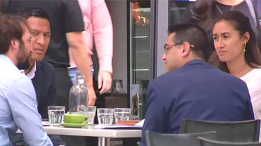 Eye of the storm: Israel Folau seen at a Sydney cafe with his wife Maria on Friday, April 13.