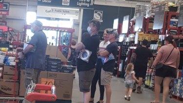 Senator Bridget McKenzie shopping at Bunnings in Wodonga, Victoria, alongside News Corp's Simon Benson.
