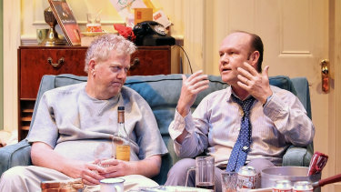 Steve Rodgers as Oscar and Brian Meegan as Felix in Ensemble Theatre's The Odd Couple.