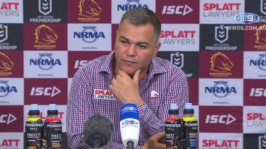 Good call: Anthony Seibold addresses the media after the win over the Roosters.