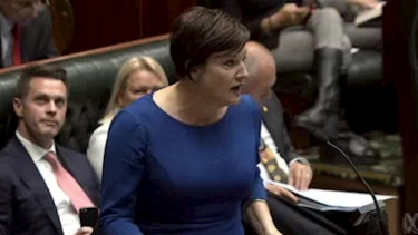NSW Opposition Leader Jodi McKay in Parliament on Wednesday before she was removed.
