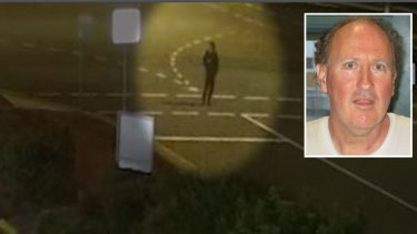 "A screenshot of a ""crucial witness"" in the area where Sunshine Coast man David Collin (inset) was murdered."