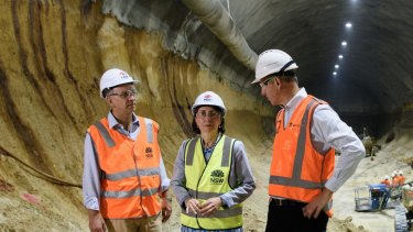 Gladys Berejiklian with Transport for NSW secretary Rodd Staples (right) and Transport Minister Andrew Constance