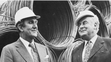 Prime Minister Malcolm Fraser and Gough Whitlam in 1976. Fraser blocked supply in the Senate to cause a deadlock, leading to Whitlam's dismissal.