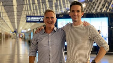 AFR journalist Mike Smith with ABC journalist Bill Birtles as they prepared to leave China on Monday night.