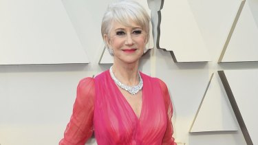 Helen Mirren, 73, looking fabulous (and her age) at the Oscars.