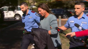 Ben Cousins during his arrest in Victoria Park in April.