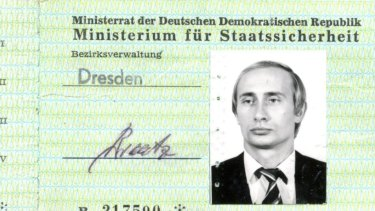 A Stasi ID pass used by Vladimir Putin when he was a Soviet spy in former East Germany has been found in the secret police archives in Dresden.