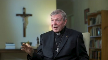 Cardinal George Pell is interviewed by Andrew Bolt on Sky News shortly after his acquittal and release from prison.
