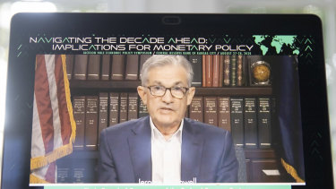 Jerome Powell delivered the speech virtually.
