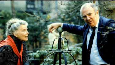 Clive James with Katherine Hepburn in Manhattan, 1983. James loved celebrity, and for a man who projected himself as left of centre, he had a cloying romanticism about members of the British royal family.