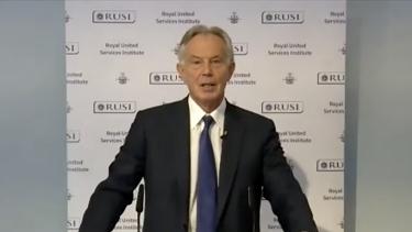 Former British Prime Minister Tony Blair addressing the RUSI think tank on Monday.