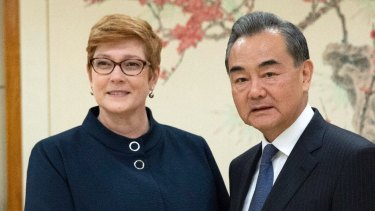 Foreign Minister Marise Payne and China State Councilor Wang Yi meet at the UN.