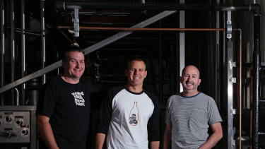 Fermentum founders Brad Rogers, Ross Jurisich and Jamie Cook. The Byron Bay group has about 1 per cent of the beer market in Australia.