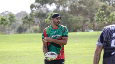 Greg Inglis was one of the star attractions in the Bennelong Cup touch football tournament.