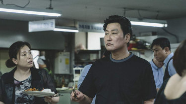 Kang-ho Song and Hyae Jin Chang in  Bong Joon-ho's Parasite.