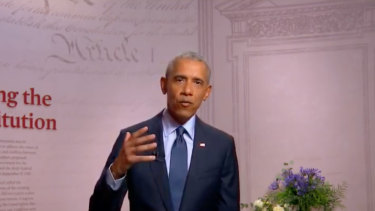 Barack Obama speaking to the DNC.