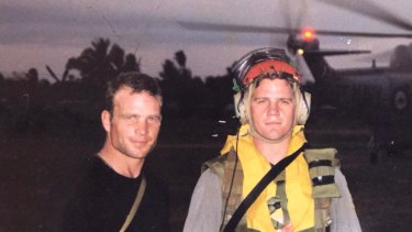 Then Lieutenant Dan Gosling (left) with brother Xavier Gosling who was on HMAS Success, the main supply ship supporting InterFET, in 1999.