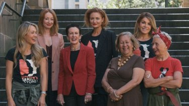 Ambassadors for the 2019 Sydney Women's March (from left): Erika Heynatz, Alexandra Smart, Lord Mayor Clover Moore, Genevieve Smart, Aunt Norma Ingram, Peta Friend and Sarah-Jane Adams.