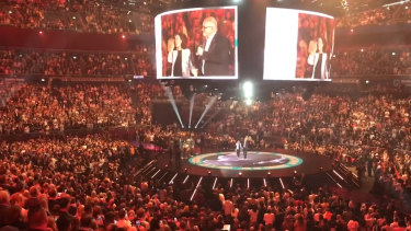 Scott Morrison attends a Hillsong service in July 2019, before COVID-19 shut down physical services.
