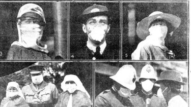 Sydneysiders wearing masks during the Spanish flu outbreak. From the Mirror, February 7, 1919.