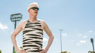 "Researchers have confirmed ""pale"" melanomas are genetically linked to albinism. (Pictured is Chad Perris a Canberra athlete with albinism)"