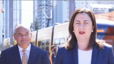 Announcing $2.5 million for a business case for a future case of the successful Gold Coast light rail project is Premier Annastacia Palaszczuk with Gold Coast Mayor Tom Tate.