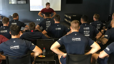 'Stress specialist': Nam Baldwin conducts breathing exercises with the Roosters.