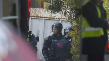 Police in riot gear outside the Parkville Youth Justice Centre in 2017.