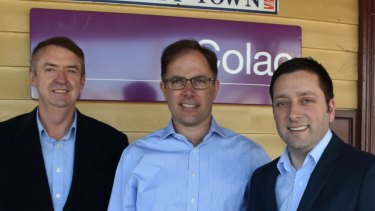 Richard Riordan on the day he won Liberal Party preselection for the Polwarth electorate with former member Terry Mulder (left) and former opposition leader Matthew Guy.