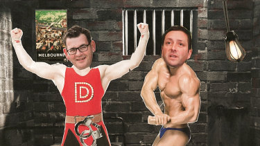 """The main event: Dan """"The Man""""Andrews versus Matthew """"Tough"""" Guy."""
