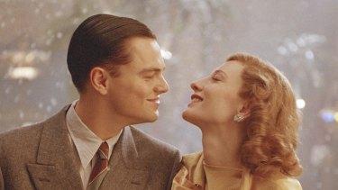 Leonardo DiCaprio as Howard Hughes and Cate Blanchett as Katharine Hepburn in The Aviator