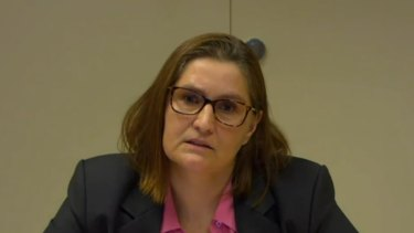 Crown's chief risk officer Anne Siegers giving evidence to the commission on Wednesday.