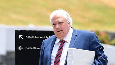 Businessman Clive Palmer arrives at the Supreme Court in Brisbane on December 4.