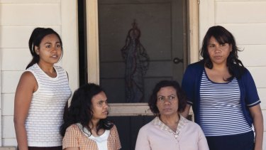 From left, Julie (Jessica Mauboy), Cynthia (Miranda Tapsell), Geraldine (Kylie Belling) and Gail (Deborah Mailman) in a scene from The Sapphires.