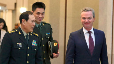 Defence minister Christopher Pyne was told his Chinese counterpart General Wei Fenghe.