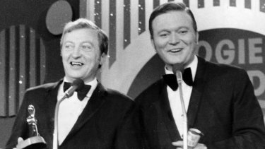 Back in the day: Graham Kennedy receives the Gold Logie from Bert Newton in 1969.