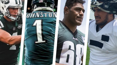 Culture shock: Australians Cameron Johnston, Lachlan Edwards, Jordan Mailata and Holmes have had varying levels of success in the NFL.