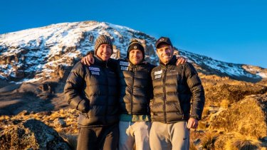 Trent Robinson, Michael Gordon and Danny Buderus on Mount Kilimanjaro, the highest free-standing mountain in the world.