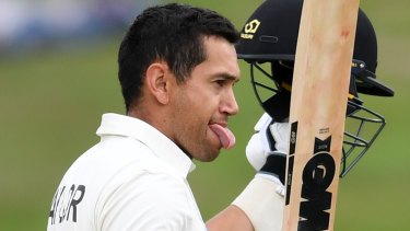 Ross Taylor celebrates his century against England in  Hamilton.