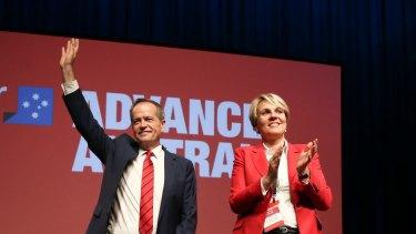 Opposition Leader Bill Shorten and deputy Tanya Plibersek at Labor's last national conference in 2015.