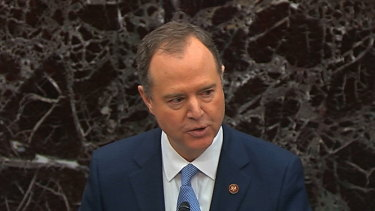 House impeachment manager House Intelligence Committee Chairman Adam Schiff speaks as the impeachment trial against President Donald Trump begins in the Senate.
